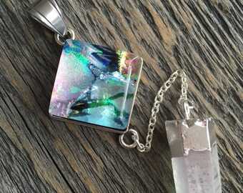 AURA Necklace, Fused Glass Necklace, Natural Crystal Pendant, Dichroic glass, angel aura quartz, statement necklace, Sparkly Necklace