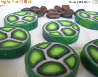 50% OFF - SALE - SALE - Turtles - 6 Polymer Clay Buttons
