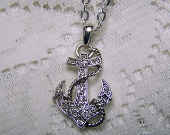 Anchor Pendant & Chain - Fouled Anchor - Dimensional Rhinestone Anchor - Boating Anchor - Sailing Anchor - Nautical Pendant - Anchor Jewelry