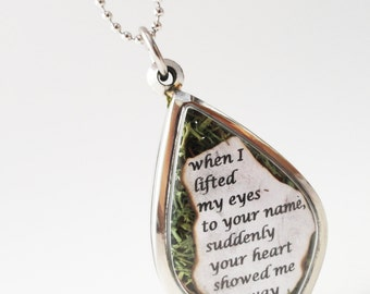 Lited My Eyes to Your Name, Your Heart Showed Me My Way, Quote Locket, Faux Stone Heart Terrarium Necklace, Love Quote, Mini Curio Display