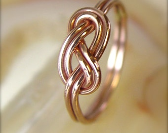 Rose Gold Celtic Knot Ring / Endless Knot Figure 8 Infinity Ring / Love Knot / Alternative Wedding Ring