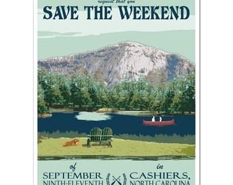 Vintage Cashiers, North Carolina Save the Weekend Card - SAMPLE