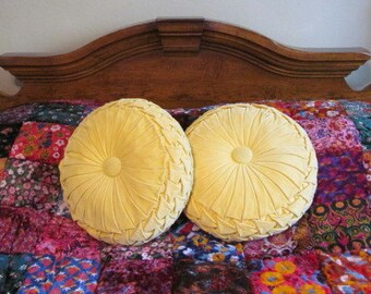 Vintage Round Yellow Velvet Smocked Toss Pillows with Big Center Button