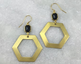 Black Jewel Hexagon Earrings | E21628