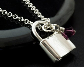 Locked in My Heart -  Sterling Silver Padlock and Birthstone Necklace