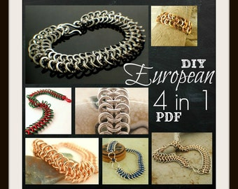 PDF European 4 in 1 Chainmaille Jewelry Tutorial