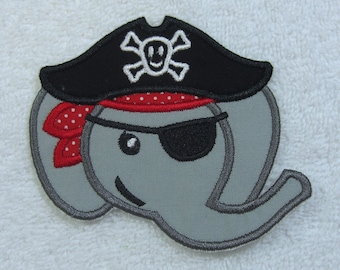 Elephant Pirate Fabric Embroidered Iron On Applique Patch Ready to Ship