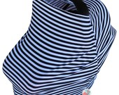 SHIPS TODAY- Car Seat Cozy™ - Black and White Stripe Car Seat Cover, Nursing Cover, Shopping Cart Cover, etc!