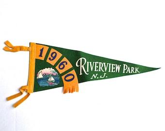 Vintage Riverview Park NJ Pennant, Souvenir Pennant, New Jersey Felt Pennant, 1960s Travel Pennant