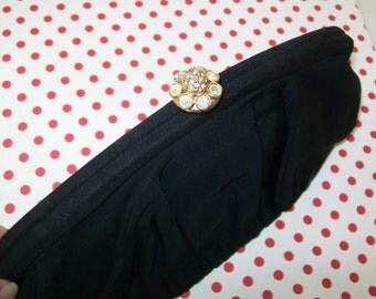 SALE - Vintage GDK Clutch, black, 1960s, faille, Handbag