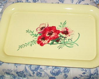 SALE - Yellow metal tray, serving tray, vintage, red poppies