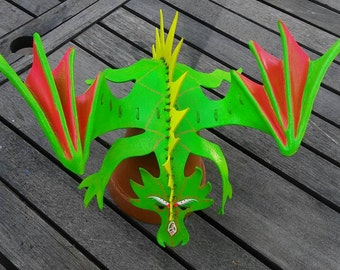 Neon Green Glow In The Dark Leather Wearable Dragon Shoulder Dragon OOAK