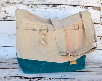 CAMERA Purse and Market Tote Natural Linen & teal blue Waxed canvas, Lightweight / durable by Darby Mack