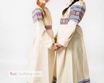 Russian dress, folk dress cotton rubakha for girls and women, traditional Russian clothing, peasant shirt ethnic dress folk art slavic dress