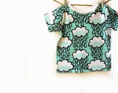 Mint Rainclouds Organic cotton baby t-shirt, baby tee, baby clothes, toddler t-shirt