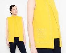 60s Mustard Yellow Sweater Two Piece Rhinestone Beaded 1960s Mod Sleeveless Knit Cardigan Crop Top Medium M