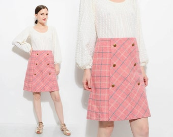 Vintage 70s Pink Plaid Wool Skirt High Waist 1970s Preppy School Girl Mod Mini Skirt Military Buttons Small S