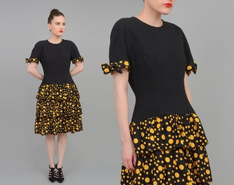 Vintage 80s Dress Black + Yellow Polka Dot Dress Dolly BOW Drop Waist Tiered Ruffled Dress Small S