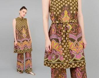 Vintage 70s Ethnic Scarf Print 2 Piece Outfit Bohemian Hippie Wide Leg Pant Suit Sleeveless Tunic Dress S M