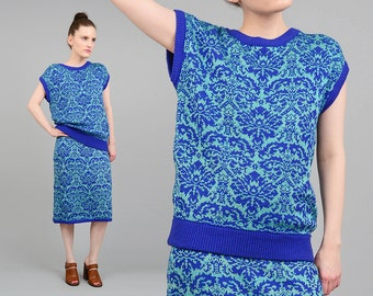 Vintage 80s DAMASK Sweater Two Piece Set Pencil Skirt + Cap Sleeve Knit Top 2pc Dress Blue Aqua Green M L