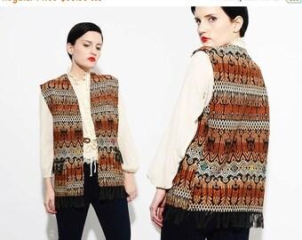 70s Tapestry Vest India Blanket Native Bird 1970s Boho Hippie Guatemalan Fringe Vest Medium M