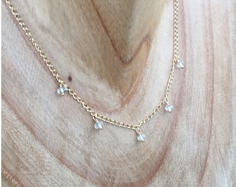White Topaz in Gold Minimalist Necklace Everyday Necklace