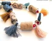 LetsPartySale Limited edition tassel fiber necklace, fall shades tassel fiber jewelry, unique tassel fabric necklace
