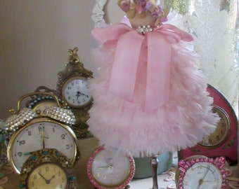 Dress Form, Pink Ruffles, Vintage velvet flowers, Silk Ribbon, Vintage Rhinestones