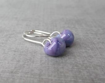 Purple Violet Earrings, Small Dangles Purple, Purple Lampwork Earrings, Small Purple Earrings, Purple Glass Drop Earrings, Sterling Silver
