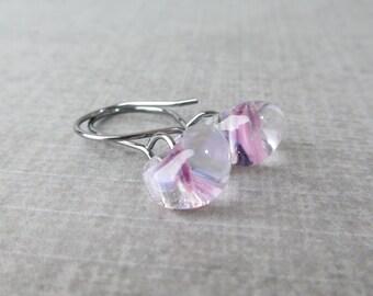 Lilac Small Dangles, Light Purple Lampwork Earrings, Oxidized Wire Dangle Earrings, Lilac Earrings, Glass Drop Earrings, Sterling Silver