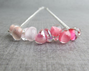 Ombre Pink Necklace, Lampwork Necklace, Orchid Pink Blush Champagne Carnation Necklace, Sterling Silver Necklace, Glass Drop Necklace Pink