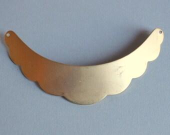 Large Raw Brass Scalloped Edge Crescent Pendant Blank