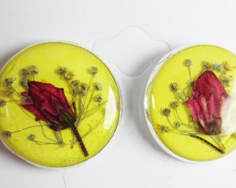 Yellow Surprise, Pressed Flower Earrings,  Real Flowers, Post Earrings,  Resin (1783)