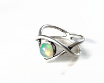 Opal ring, size 7 sterling silver ring with welo opal, elvish ring