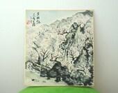 Vintage Japanese Shikishi Original Landscape Painting With Kanji Inscription