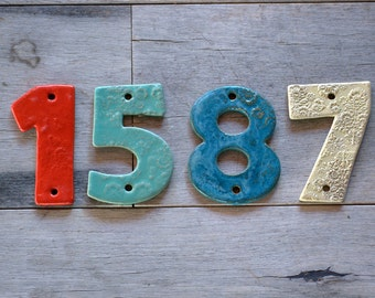 Ceramic House Numbers, colorful House Tiles, handmade Address Numbers, Clay Numbers - made to order