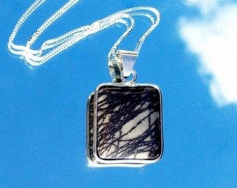 LINES in the SKY, Sterling silver necklace with Agate, Sterling necklace, 925 sterling silver, southwest, tribal, boho, zen
