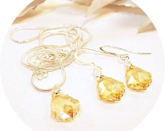 Yellow Crystal Jewelry, Golden Shadow, Bridal Jewelry, Bridesmaid Jewelry, Gold Crystal Jewelry, Yellow Topaz, Citrine, Earrings, Pendant