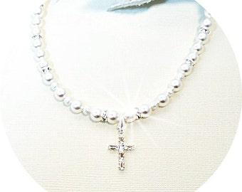 Cross Necklace, Crystal Cross, First Communion Cross, Rhinestone Cross, Christian Cross, Kids Jewelry, Pearls, Confirmation Cross, Girls Cro