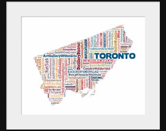 Toronto Map Typography Color Map Poster Print 2