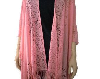 Coral pink Bohemian Lace Kimono -soft coral pink-Fringe kimono cardigan-Oversize kimono