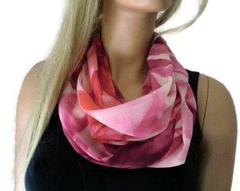 Chiffon infinity scarf-La vie en rose chiffon cowl-pink and sunset-Instant gratification