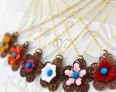 Delicate Flower Filigree Boho Necklace - Colorful Flower Necklace