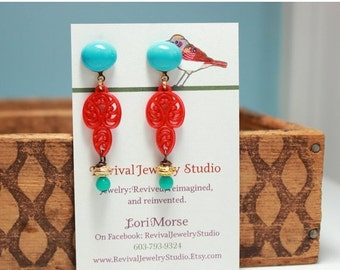 50% off Turquoise and Red Post Earrings
