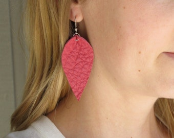 Hot Pink Leather Leaf Earrings