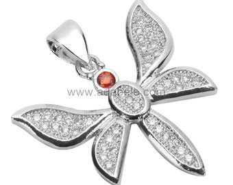 1pc x  Beautiful Silver Dragonfly Charm/Pendant with Cubic Zirconia Pave # MCAC08