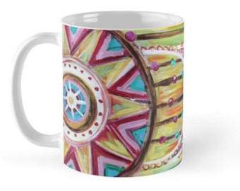Catching Dreams // Coffee Tea Hot Cocoa Mug with Dreamcatcher Art