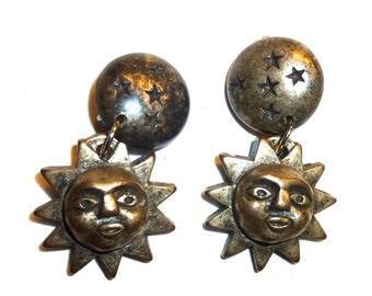 Jeff Lieb Vintage Earrings.  Celestrial Sun, Moon, & Stars. Clip On Signed Designer Earrings. Circa 1980s Costume Jewelry.