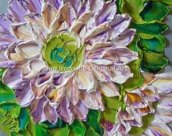 Oil Painting  Multi color floral , Impasto , Original Painting , Palette Knife , Jan Ironside ,