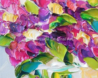 Oil Painting Multi color wildflowers Impasto Painting  Canvas wall decor